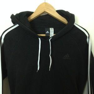 Adidas Women Black Cotton Blend Hoodie Sweatshirt
